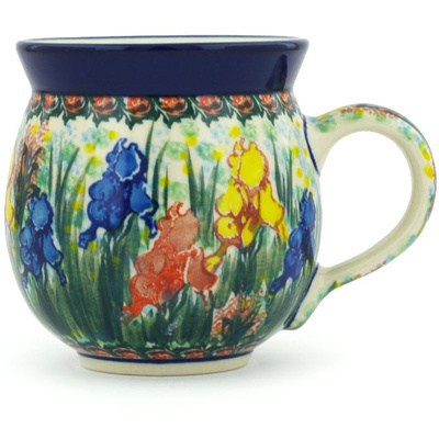Polish Pottery Bubble Mug 12 oz Spring Iris UNIKAT