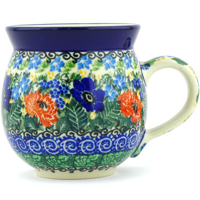 Polish Pottery Bubble Mug 12 oz Spring Meadow UNIKAT
