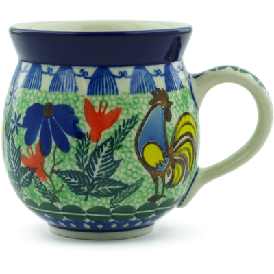 Polish Pottery Bubble Mug 12 oz Spring Rooster UNIKAT