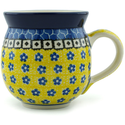 Polish Pottery Bubble Mug 12 oz Sunburst Daisies
