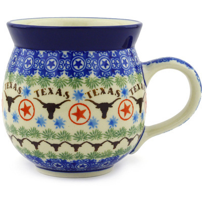 Polish Pottery Bubble Mug 12 oz Texas Longhorns