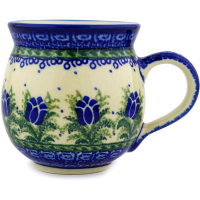 Polish Pottery Bubble Mug 12 oz Tulip Motif UNIKAT