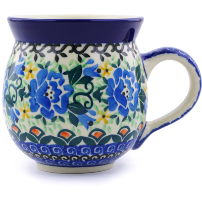Polish Pottery Bubble Mug 12 oz Tulip Rose UNIKAT
