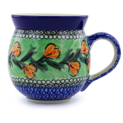 Polish Pottery Bubble Mug 12 oz Tulip Wreath UNIKAT