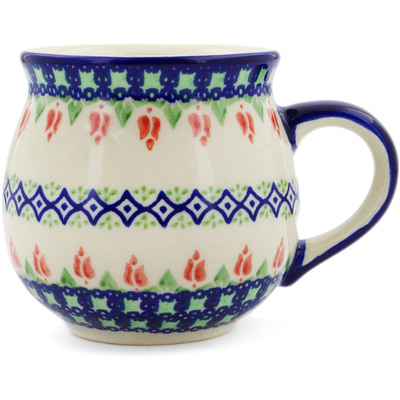 Polish Pottery Bubble Mug 12 oz Tulips And Diamonds