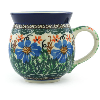 Polish Pottery Bubble Mug 12 oz Wheat Flowers UNIKAT