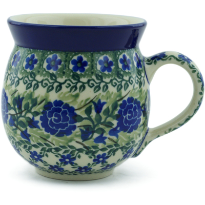 Polish Pottery Bubble Mug 12 oz Wild Roses Lattice UNIKAT