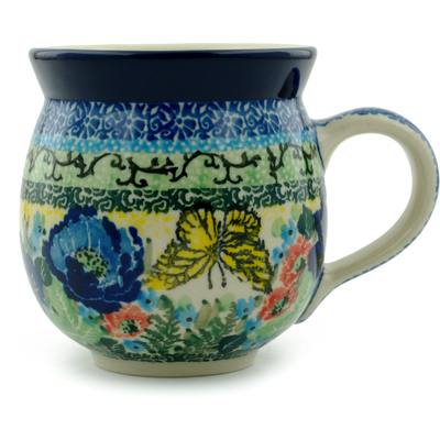 Polish Pottery Bubble Mug 12 oz Yellow Monarch Meadow UNIKAT