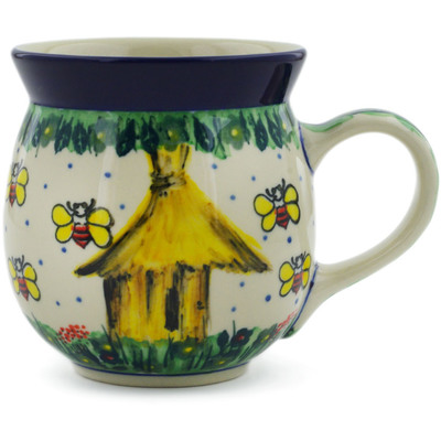Polish Pottery Bubble Mug 16 oz Bee Happy UNIKAT