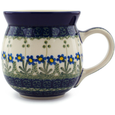 Polish Pottery Bubble Mug 16 oz Blue Daisy Circle