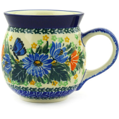 Polish Pottery Bubble Mug 16 oz Butterfly Blues UNIKAT