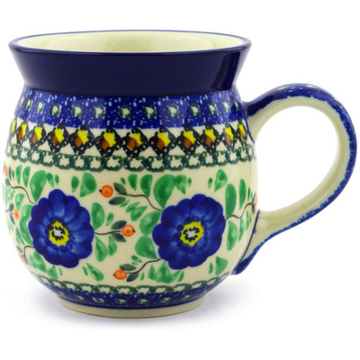 Polish Pottery Bubble Mug 16 oz Cobalt Poppies UNIKAT