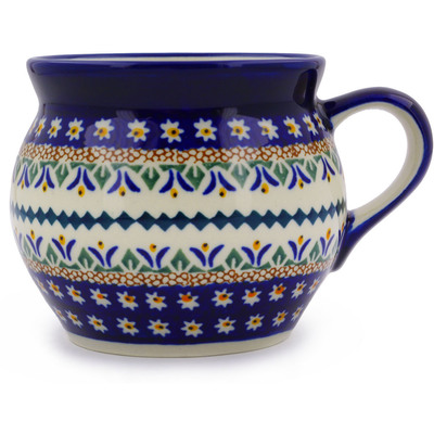 Polish Pottery Bubble Mug 16 oz Floral Peacock UNIKAT