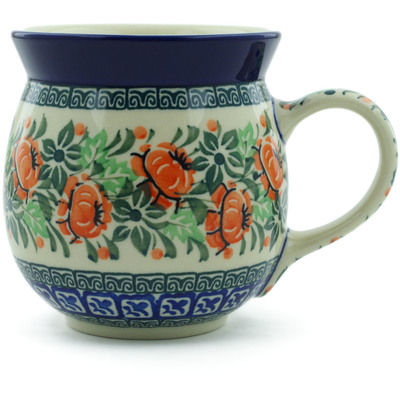 Polish Pottery Bubble Mug 16 oz Orange Cabbage Wreath UNIKAT