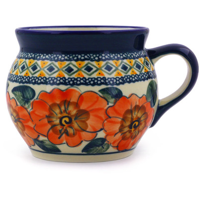 Polish Pottery Bubble Mug 16 oz Peach Poppies UNIKAT