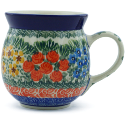 Polish Pottery Bubble Mug 16 oz Perennial Border UNIKAT