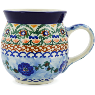 Polish Pottery Bubble Mug 16 oz Polish Poppies UNIKAT
