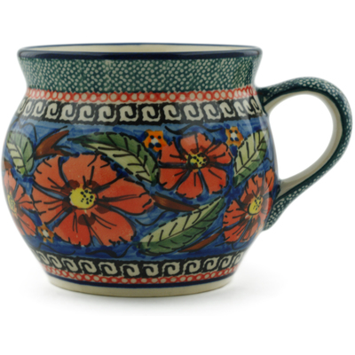 Polish Pottery Bubble Mug 16 oz Poppies UNIKAT