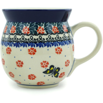 Polish Pottery Bubble Mug 16 oz Spring Butterfly