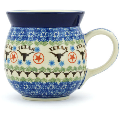 Polish Pottery Bubble Mug 16 oz Texas Longhorns
