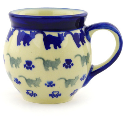 Polish Pottery Bubble Mug 7 oz Boo Boo Kitty Paws