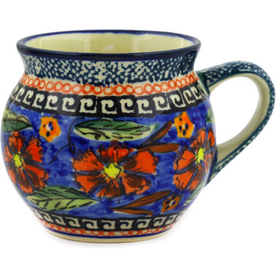 Polish Pottery Bubble Mug 7 oz Poppies UNIKAT