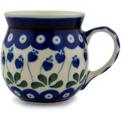 Polish Pottery Bubble Mug 8 oz Bleeding Heart Peacock