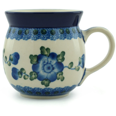 Polish Pottery Bubble Mug 8 oz Blue Poppies