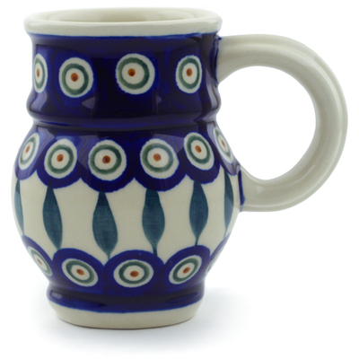 Polish Pottery Bubble Mug 8 oz Peacock Leaves