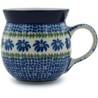 Polish Pottery Bubble Mug 8 oz Polka Dot Daisy