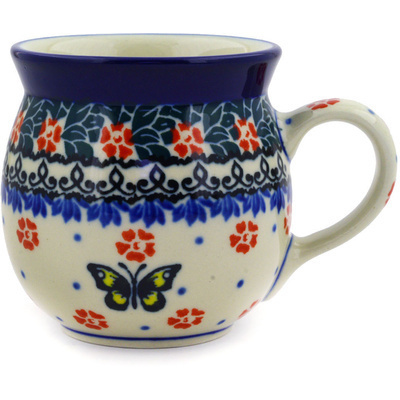 Polish Pottery Bubble Mug 8 oz Spring Butterfly