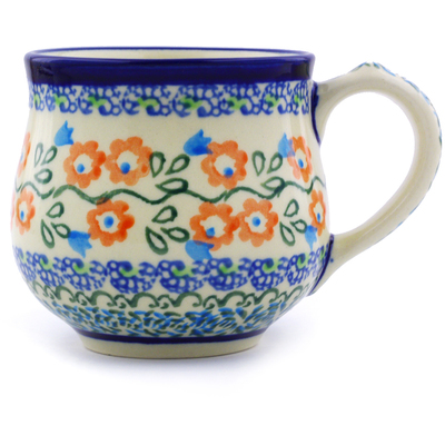 Polish Pottery Bubble Mug Small Tulip Vines