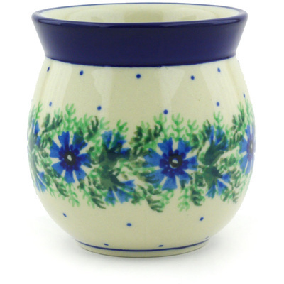 Polish Pottery Bubble Mug without a Handle 8 oz Blue Bell Wreath