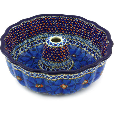 "Polish Pottery Bundt Cake Pan 10"" Cobalt Poppies UNIKAT"