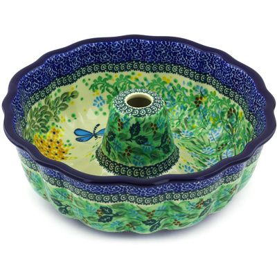 "Polish Pottery Bundt Cake Pan 10"" Garden Delight UNIKAT"