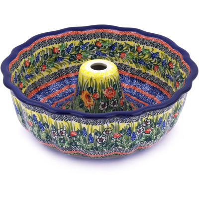 "Polish Pottery Bundt Cake Pan 10"" Splendid Morning Glow UNIKAT"