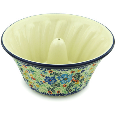 "Polish Pottery Bundt Cake Pan 10"" Spring Essence UNIKAT"