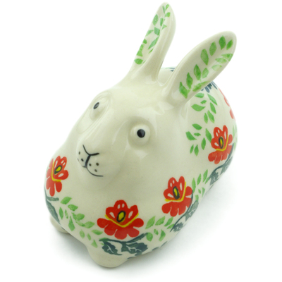 "Polish Pottery Bunny Figurine 4"" Christmas Rose"