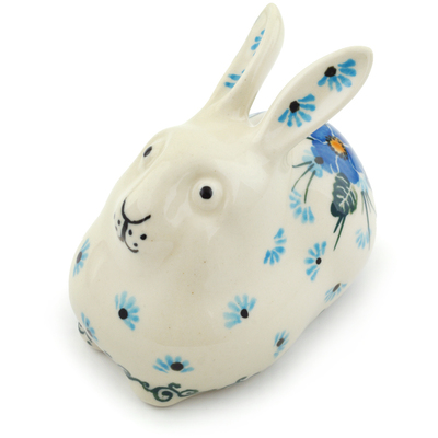 "Polish Pottery Bunny Figurine 4"" Forget Me Not"