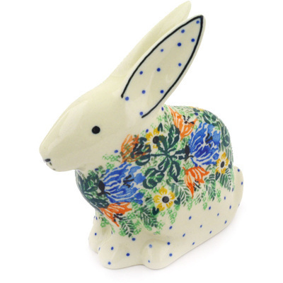 "Polish Pottery Bunny Figurine 5"" Dotted Floral Wreath UNIKAT"