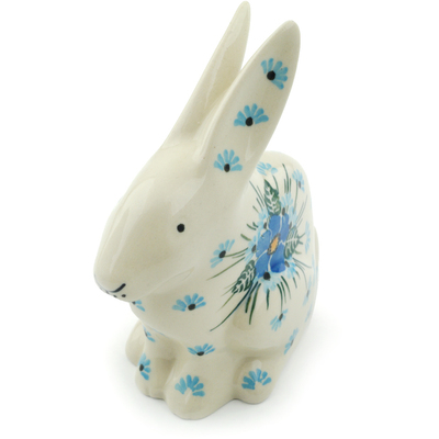 "Polish Pottery Bunny Figurine 5"" Forget Me Not"