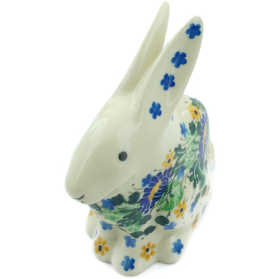 "Polish Pottery Bunny Figurine 5"" Peeking Flowers UNIKAT"