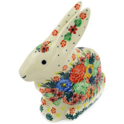 "Polish Pottery Bunny Figurine 5"" Splendid Poppy Meadow UNIKAT"