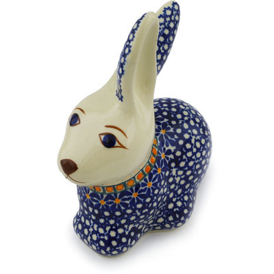 "Polish Pottery Bunny Figurine 6"" Gangham Flower Chain"