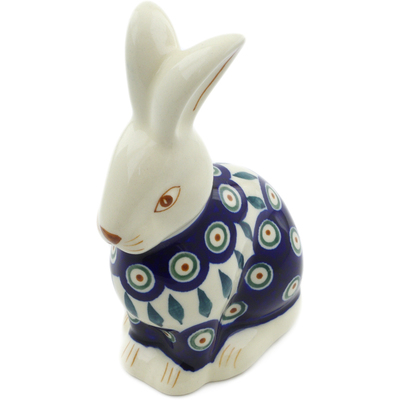 "Polish Pottery Bunny Figurine 6"" Peacock Leaves"