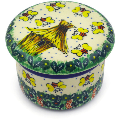 "Polish Pottery Butter Dish 4"" Bee Happy UNIKAT"