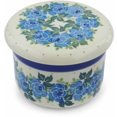 "Polish Pottery Butter Dish 4"" Blue Garland"