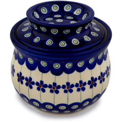 "Polish Pottery Butter Dish 4"" Flowering Peacock"