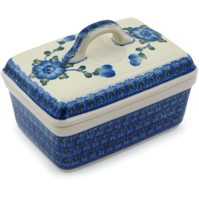 "Polish Pottery Butter Dish 5"" Blue Poppies"