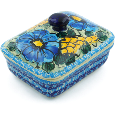 "Polish Pottery Butter Dish 5"" Corn In The Blue UNIKAT"